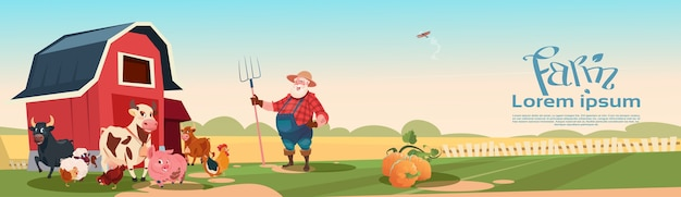 Farmer breeding animals farmland background