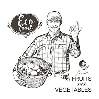 Farmer in cap carrying a basket full of fresh vegetables tomatoes and herbs isolated vector illustration