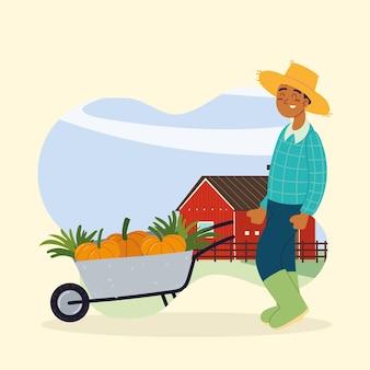 農民は野菜を運ぶ