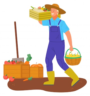 Farmer carrying basket with gathered food veggies