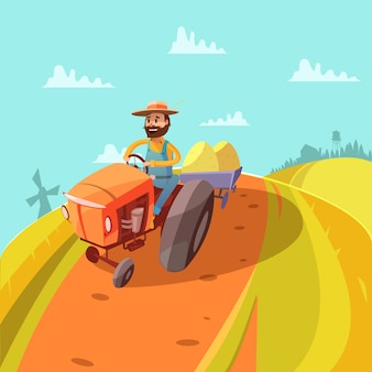 Farmer cartoon background with tractor mill hills and harvest vector illustration