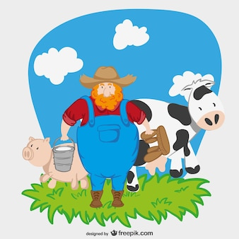 Agricoltore personaggio dei cartoni animati Vettore gratuito