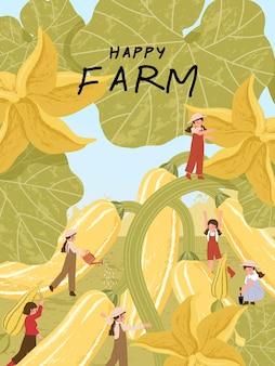농장 포스터 삽화에서 호박 수확을 하는 농부 만화 캐릭터