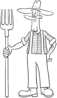 농부 만화 채색 페이지