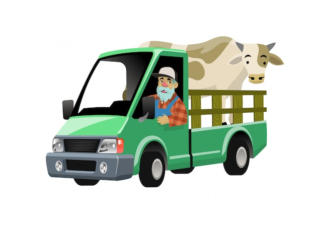 Farmer cartoon driving truck transporting the cow