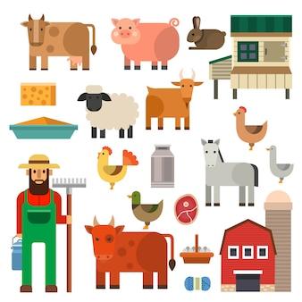 農家文字男農業人職業農村庭師農場の動物イラスト。