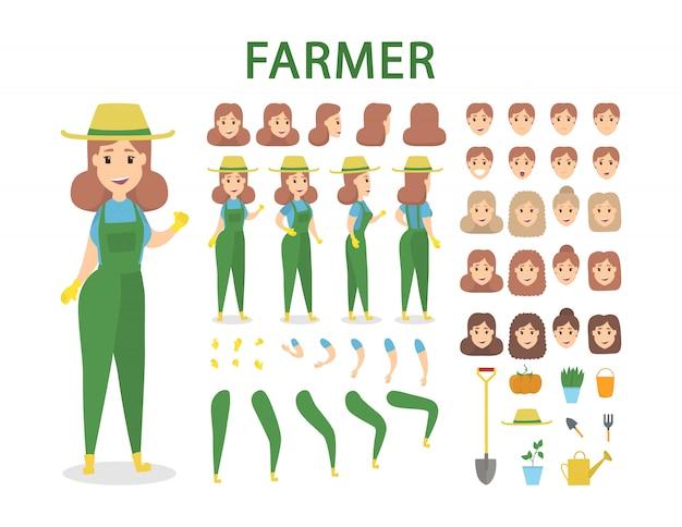 ポーズと感情を持つ農家の文字セット。