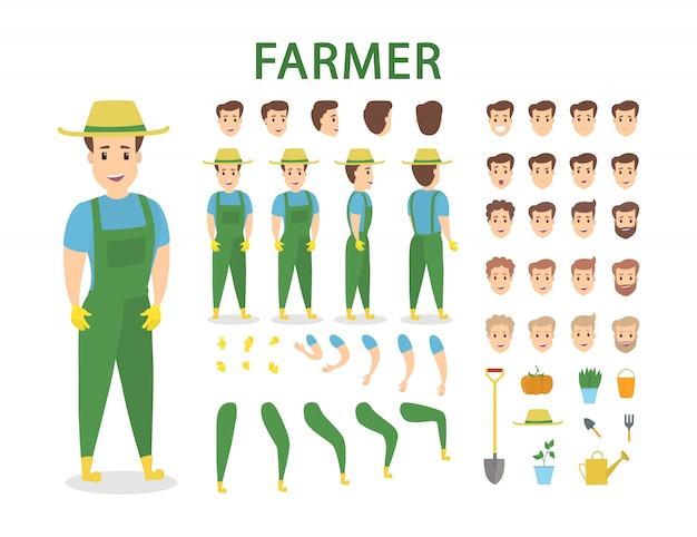 Farmer character set with poses and emotions.