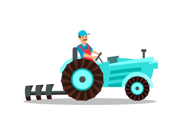 Farmer character tractor with plow, plough driver