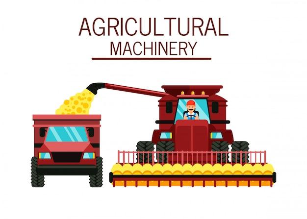 Farmer in combine harvester cabin illustration