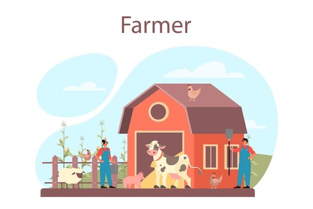 농부 개념. 필드에 농장 노동자, 식물에 물을주고 동물에게 먹이를줍니다. 여름 시골보기, 농업 개념. 마을에 살고 있습니다.