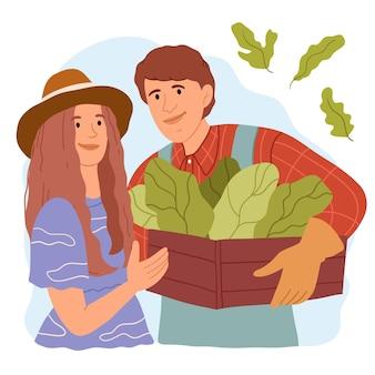 Семейная пара фермеров выращивает экологически чистые продукты
