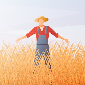 Farmer and crop harvest flat composition