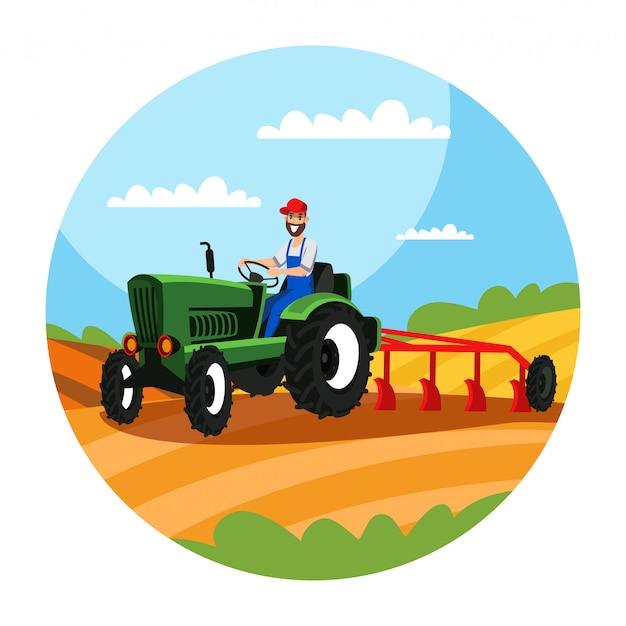 Farmer driving tractor with plough illustration