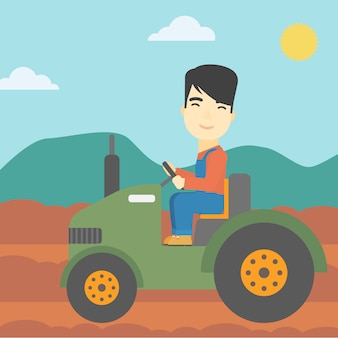 Farmer driving tractor