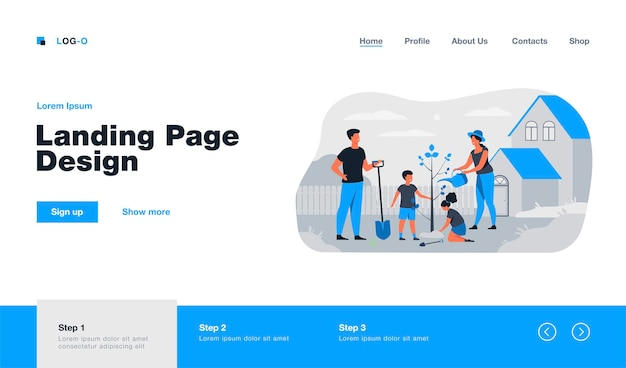 Farmer family planting sapling near house landing page in flat style