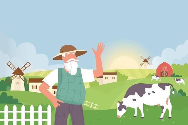 Farmer in farmland village landscape countryside with cows