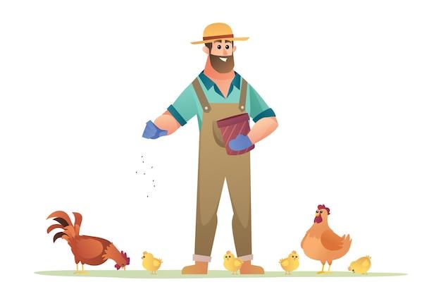 鶏に餌をやる農家のイラスト