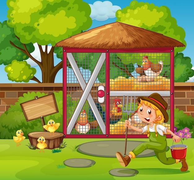 Фермер кормит цыплят в курятнике