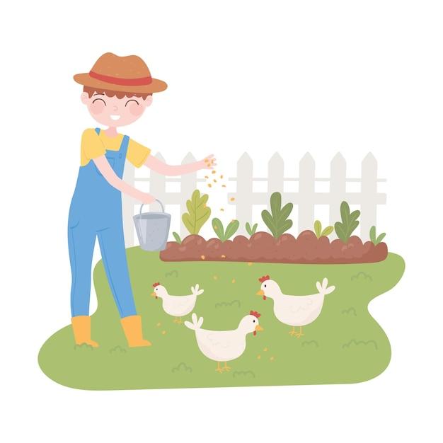 Фермер кормит цыплят