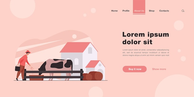 Farmer feeding cow with grass landing page in flat style