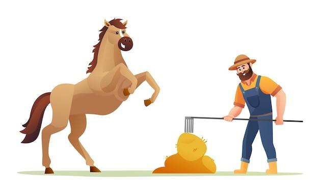 Фермер кормит лошадь сена карикатура иллюстрации