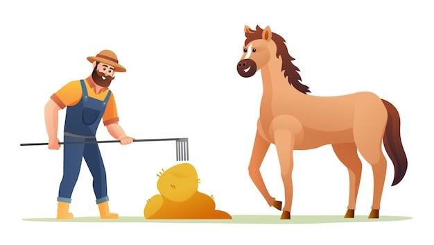 Фермер кормит лошадь с сеном