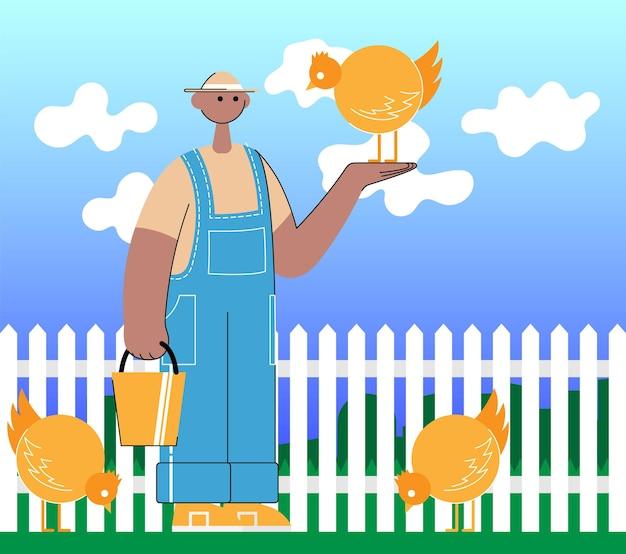 농부는 닭과 . 배경 풍경입니다. 색 벡터 평면 만화 일러스트 레이 션.