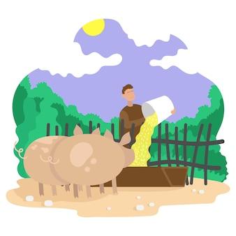 농부는 돼지에게 먹이를 줍니다. 배경 풍경입니다. 색 벡터 평면 만화 일러스트 레이 션.