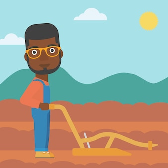 Farmer on the field with plough