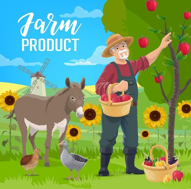 Farmer fruits and vegetables harvest
