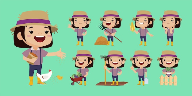 Farmer and gardener with different poses