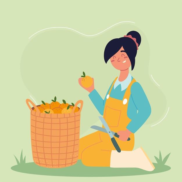 농부 소녀와 오렌지
