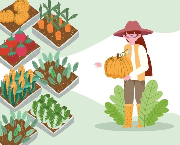 농부 소녀와 유기농 식품