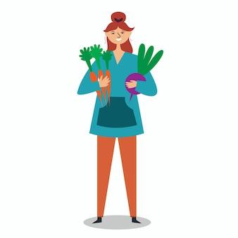 Farmer girl holding large carrot beets