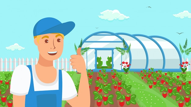 Farmer growing strawberries vector illustration