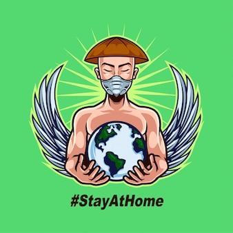 農家の男がマスクを着用し、人間の戦いをサポートするために世界を保持しています