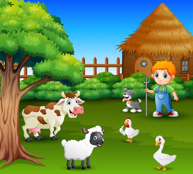 A farmer at his farm with a bunch of farm animals