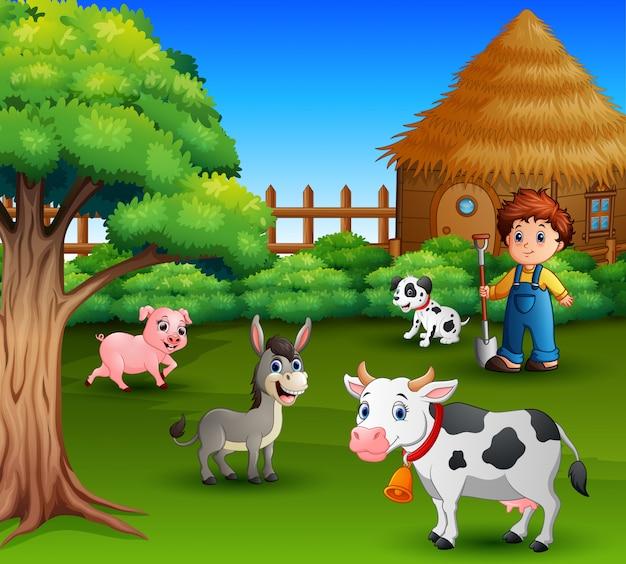A farmer at his farm with a bunch of farm animals