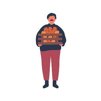 リンゴの木枠フラットベクトルイラストを保持している農民。古い牧場主、農場労働者の漫画のキャラクター。自然食品、有機熟した果実の収穫。ガーデニング、農村経済、農業デザイン要素。