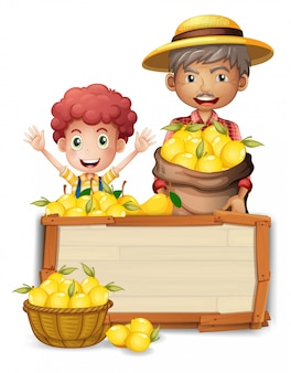 Farmer  holding lemon on wooden board