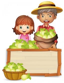 Farmer holding lettuce on wooden board
