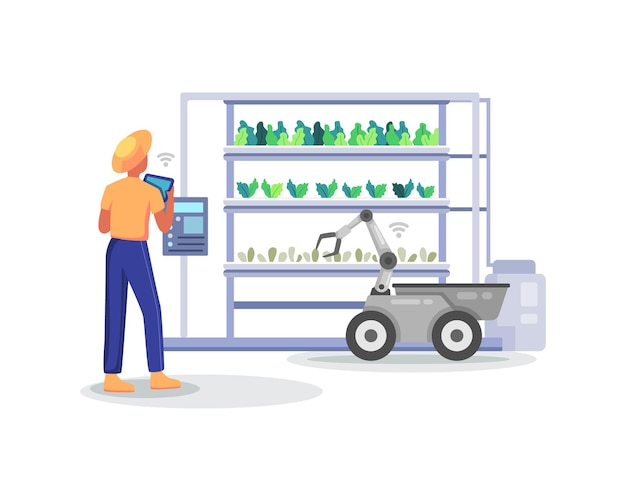 Farmer holding tablet checking his plants. smart and sophisticated farming concept, managing hydroponic farming with mobile app. modern farming with robot automation. vector illustration in flat style
