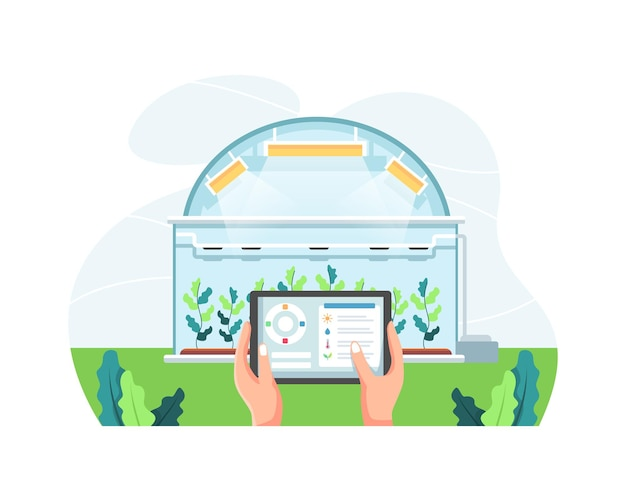 온실에서 농장을 관리하는 태블릿을 들고 있는 농부. 똑똑하고 정교한 농업 개념, 태블릿을 들고 식물을 확인하는 손. 자동화를 통한 현대 농업. 평면 스타일의 벡터 일러스트 레이 션