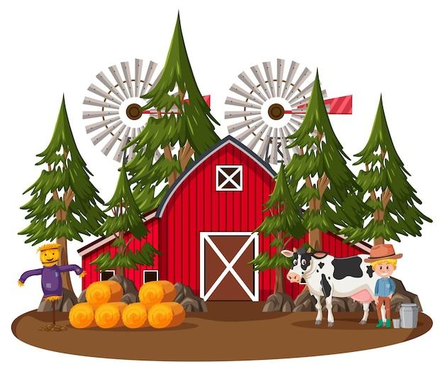 Фермерский дом с фермером и сельскохозяйственными животными на белом фоне