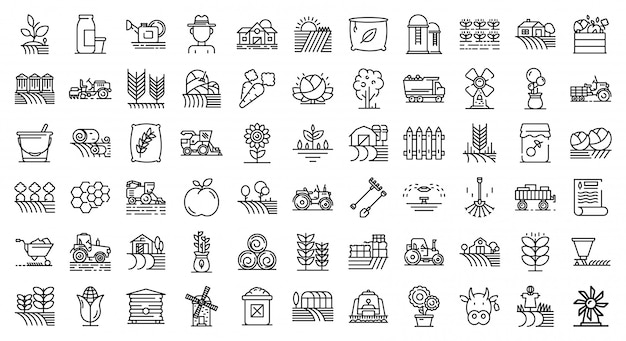 Farmer icons set, outline style