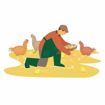 앞치마와 웰링턴 부츠를 입은 농부가 치켄 알을 모으는 가금류 현지 개념을 먹습니다