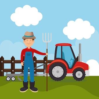 Фермер на ферме сцены