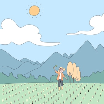 庭の背景イラストの農夫