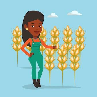 麦畑の農家
